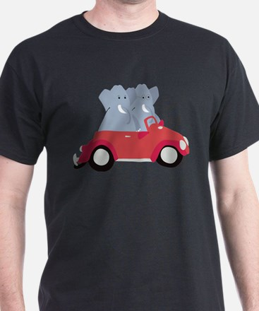 Funny elephants in red beetle car T-Shirt