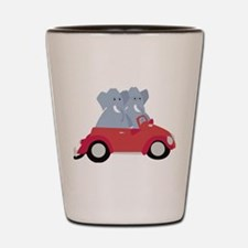 Funny elephants in red beetle car Shot Glass