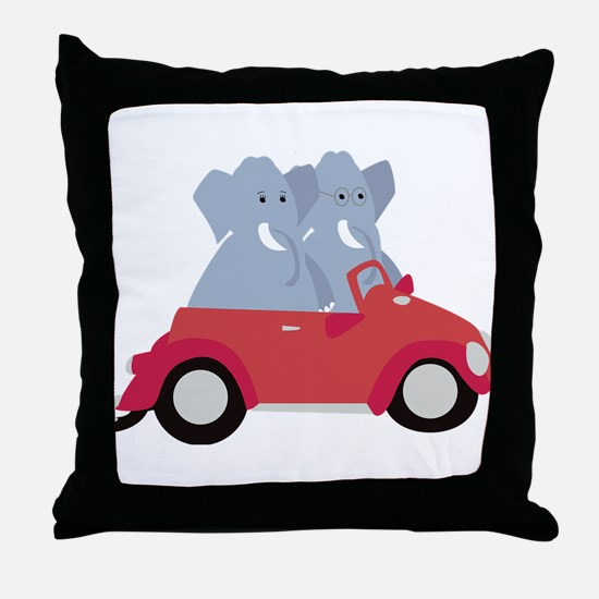Funny elephants in red beetle car Throw Pillow