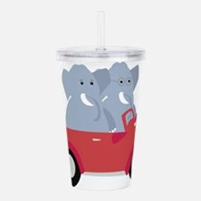 Funny elephants in red Acrylic Double-wall Tumbler