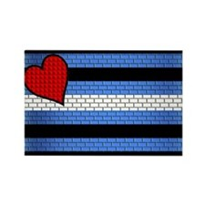BRICK LEATHER PRIDE FLAG Rectangle Magnet