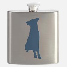 Blue sitting dog silhouette Flask
