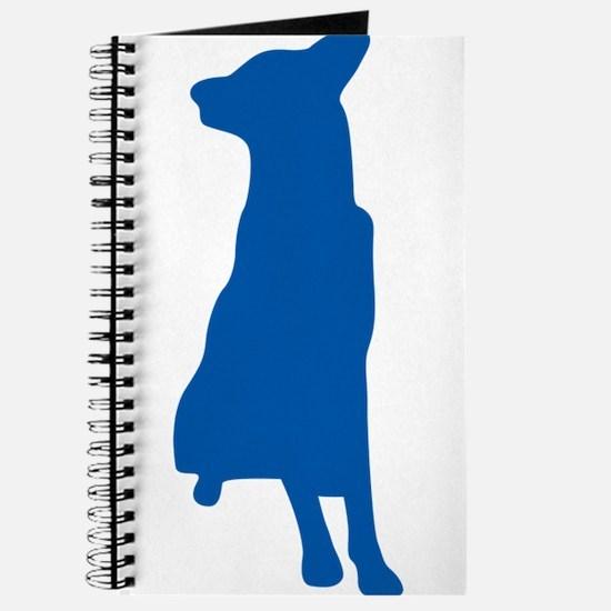 Blue sitting dog silhouette Journal