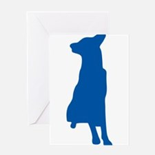 Blue sitting dog silhouette Greeting Cards