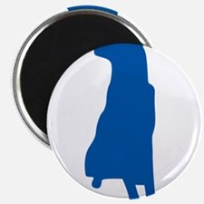 Blue sitting dog silhouette Magnets
