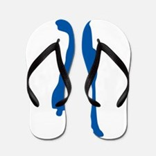 Blue sitting dog silhouette Flip Flops
