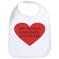 nonna and papa loves me red Bib