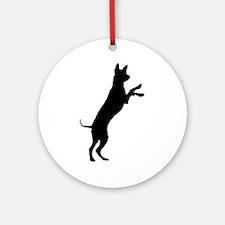 Entlebucher mountain dog silhouette Round Ornament