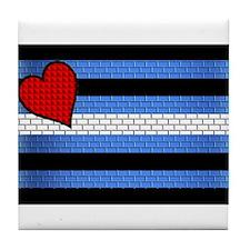 BRICK LEATHER PRIDE FLAG Tile Coaster