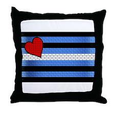 BRICK LEATHER PRIDE FLAG Throw Pillow