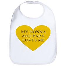 nonna and papa loves me yello Bib