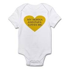 nonna and papa loves me yello Infant Bodysuit
