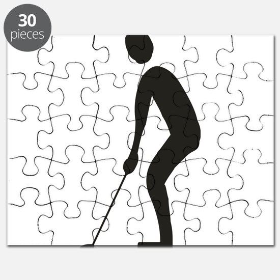 Golf player playing silhouette Puzzle