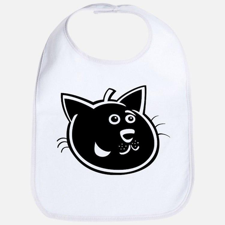 Black cat face art Bib