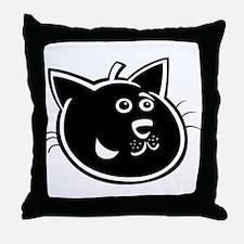 Black cat face art Throw Pillow