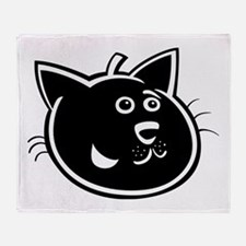 Black cat face art Throw Blanket