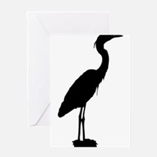 Great blue heron silhouette Greeting Cards