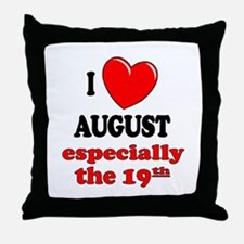 August 19th Throw Pillow