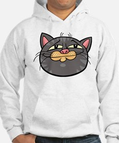 Gray cat face smiling head art Hoodie
