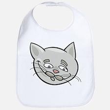 Cat sad face head art Bib