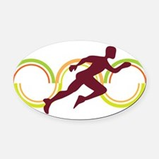 Athletic sport running Oval Car Magnet