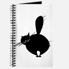 Black fat cat side view Journal