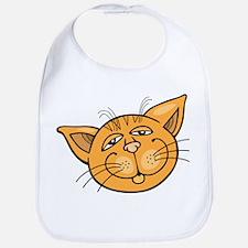 Happy cat face head art Bib