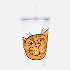 Happy cat face head ar Acrylic Double-wall Tumbler