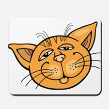 Happy cat face head art Mousepad