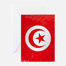 Tunisia Grunge Flag Greeting Cards