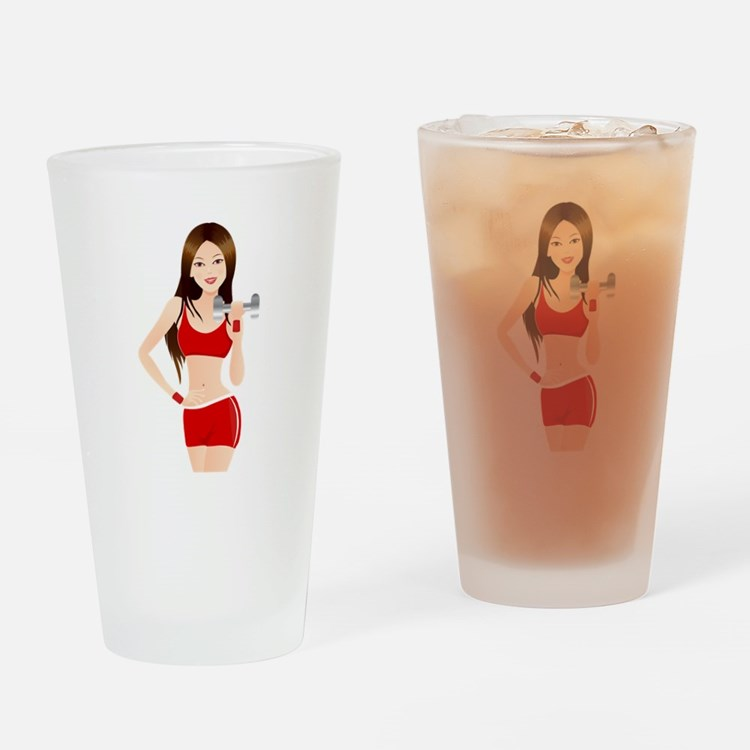 Fitness lady design Drinking Glass