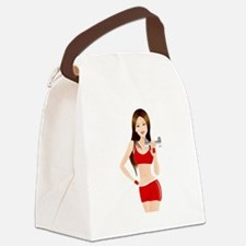 Fitness lady design Canvas Lunch Bag