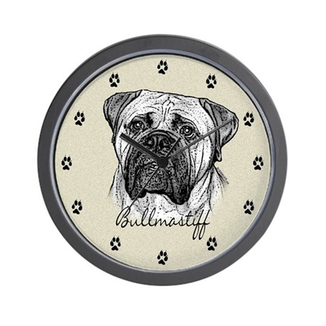 Bullmastiff Drawing Wall Clock by bysandra