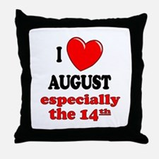 August 14th Throw Pillow