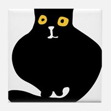 Fat black cat Tile Coaster