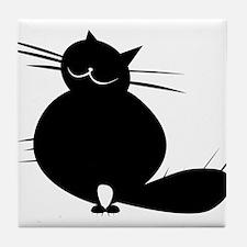 Black fat cat spikes Tile Coaster