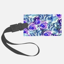 Roses Blue Floral Luggage Tag