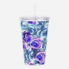 Roses Blue Purple Flor Acrylic Double-wall Tumbler