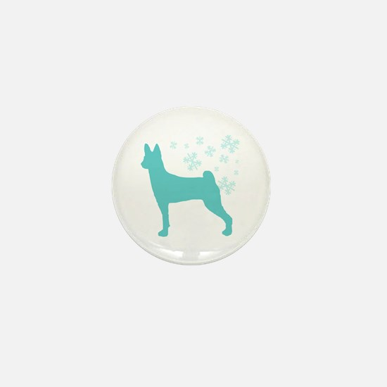 Basenji Snowflake Mini Button