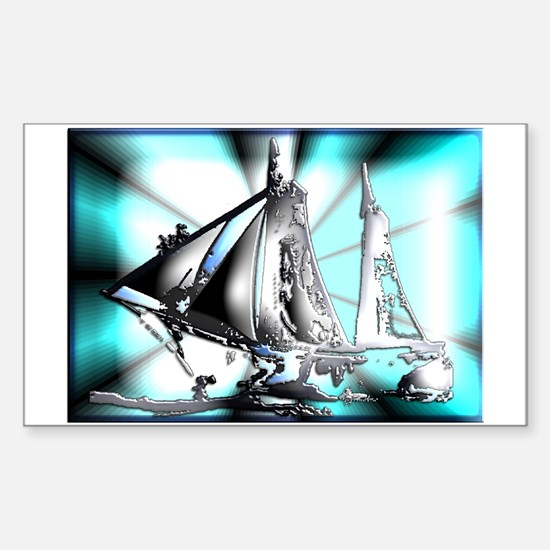 Funny Americas cup sailing Sticker (Rectangle)