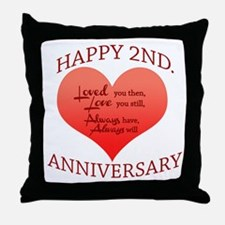 2nd wedding anniversary Throw Pillow
