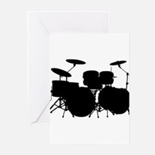 Music drums silhouette Greeting Cards
