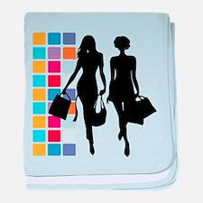 Shopping girls silhouette baby blanket