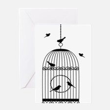 Birds in cage art Greeting Cards