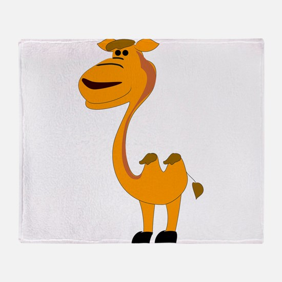 Yellow camel cartoon Throw Blanket
