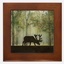 Moose in Forest Illustration Framed Tile