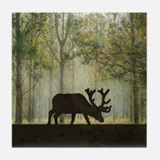 Moose in Forest Illustration Tile Coaster