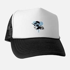 Man holding mike Trucker Hat