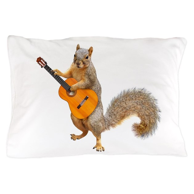 Squirrel Acoustic Guitar Pillow Case by catsclips