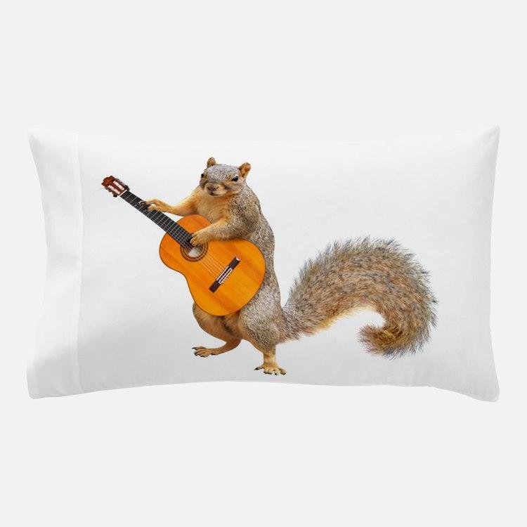 Squirrel Acoustic Guitar Pillow Case